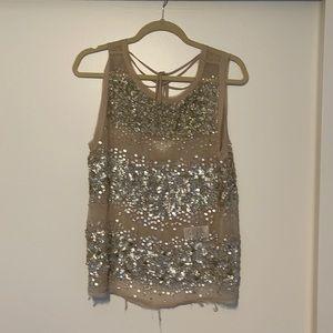 Embellished sequin sheer top